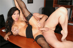 Asa Akira who fucks her boss so her boyfriend's demo can be heard.