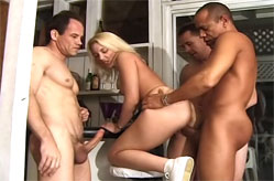 Maggie Star surrounded by 4 guys